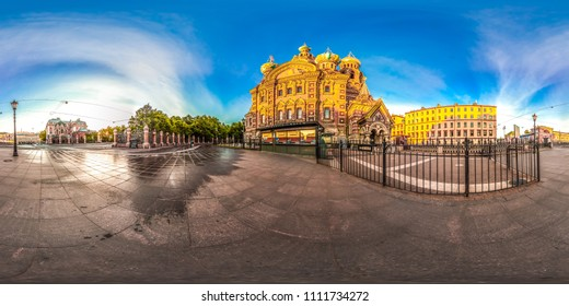 Saint-Petersburg Church of the Savior on Blood. White nights. Blue sky. 3D spherical panorama with 360 viewing angle. Ready for virtual reality. Full equirectangular projection.