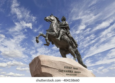 Saint-Petersburg. the equestrian statue of Peter the Great, known as the Bronze Horseman and installed in 1782 on the Senate Square.