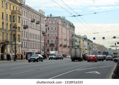 SAINT-PETERSBURG - FEB 18, 2019: Nevsky Prospect is the main street in the city of St. Petersburg, Russia