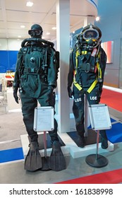 SAINT-PETERSBURG - JUN 05: The breathing apparatus and deep-diving suit on 6th international maritime defense show (IMDS-2013) on Jun 05, 2013 in Lenexpo exhibition complex, Saint-Petersburg, Russia.