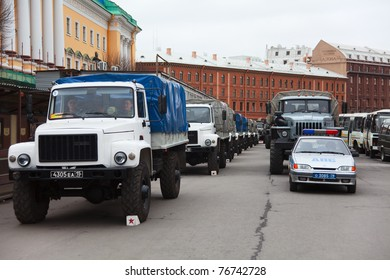 SAINT-PETERSBURG - MAY 5: Military vehicle for soldiers during rehearsal for the upcoming celebration of 66th Anniversary of Victory Day near St. Isaac's Cathedral on May 5, 2011 in Saint-Petersburg