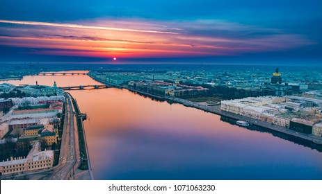 SAINT-PETERSBURG morning. Panorama of the city of Petersburg. Russian Federation. Panorama of Russian cities. White nights in St. Petersburg. Neva River. Peter. Russia. Sunrise over St. Petersburg.