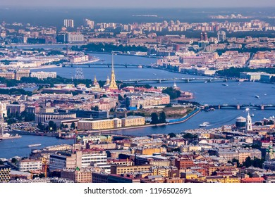 Saint-Petersburg. Panorama of St. Petersburg. Petersburg from a bird's eye view. Dominant of Saint-Petersburg. Spire of the Peter and Paul Fortress.