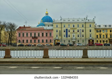 Saint-Petersburg, Russia 02 march 2019: St. Trinity cathedral famous blue domes with golden stars in early spring