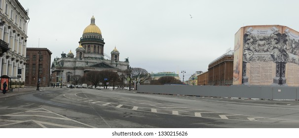 Saint-Petersburg, Russia 02 march 2019: St. Isaac's cathedral in early spring panoramic shot