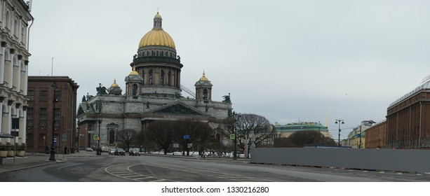 Saint-Petersburg, Russia 02 march 2019: Famous St. Isaac's cathedral in early spring