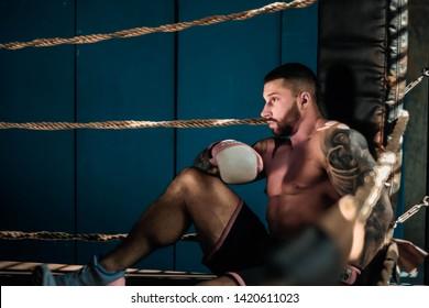 Saint-Petersburg, Russia 03/06/2019 pugilist (boxer) on ring, athlete training in gym