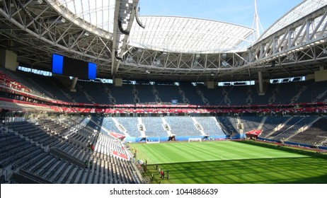 Saint-Petersburg / Russia - 06.15.2017: TV crews at press tour to Staduim St Petersburg  -  arena of the  FIFA World Cup 2018 before FIFA Confederation Cup, main arena of FC Zenit.