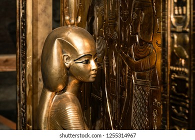 Saint-Petersburg / Russia - 09.13.2018:  Canopic Shrine of Tutankhamun. Exhibition in the Peter and Paul Fortress.