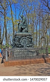Saint-Petersburg, Russia – 1 May 2019: Monument to Ivan Krylov in Summer Garden. The park was personally designed by Czar Peter in 1704