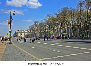 Saint-Petersburg, Russia – 1 May 2019: Gateway to the Summer Garden. The park was personally designed by Czar Peter in 1704