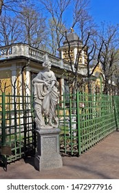 Saint-Petersburg, Russia – 1 May 2019: Sculpture of Nymph in the Summer Garden. Unknown Italian sculptor of the XVII century.  The park was personally designed by Czar Peter in 1704