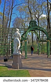 Saint-Petersburg, Russia – 1 May 2019: Pergola in Summer Garden. The park was personally designed by Czar Peter in 1704
