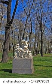 Saint-Petersburg, Russia – 1 May 2019: Sculpture Cupid and Psyche in the Summer Garden. Unknown Italian sculptor of the XVII century.  The park was personally designed by Czar Peter in 1704