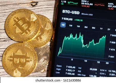 Saint-Petersburg, Russia - 10 January 2020: Phone screen with Bitcoin price chart. Cryptocurrency coins top view close-up. BTC to USD exchange, Illustrative Editorial