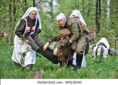 Saint-Petersburg, Russia - 15 May 2010: Reconstruction of the combat situation in 2014 the First World War. Women dressed in uniforms of the Russian army nurses.