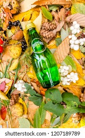 Saint-Petersburg, Russia, 17102018 perrier in a glass tin bottle on autumn yellow green foliage of trees, spruce, cones, chestnuts, berries, wild rose, birch, linden, white with a drop of dew, water