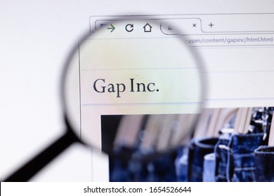 Saint-Petersburg, Russia - 18 February 2020: Gap Inc. company website page logo on laptop display. Screen with icon, Illustrative Editorial.
