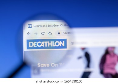 Saint-Petersburg, Russia - 18 February 2020: Decathlon Group company website page logo on laptop display. Screen with icon, Illustrative Editorial.