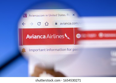 Saint-Petersburg, Russia - 18 February 2020: Avianca company website page logo on laptop display. Screen with icon, Illustrative Editorial.