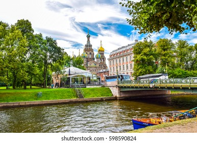 SAINT-PETERSBURG, RUSSIA - 25 August 2015: View of Cathedral of Savior on spilled Blood at Moika river in Saint Petersburg, Russia