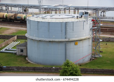 Saint-Petersburg, Russia- 25 Jun 2017: Big chemical tank petrol container on oil petrochemical industry in the harbor