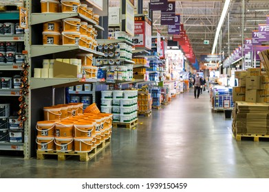 Saint-Petersburg, Russia. 26.02.2021 The interior of the store in the Department of paints and varnishes goods. editorial. Supermarket or city mall.
