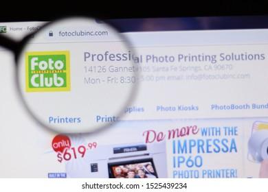 Saint-Petersburg, Russia - 8 October 2019: Illustrative Editorial of Foto Club Inc website homepage. Foto Club Inc logo visible on display screen.