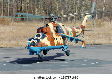 SAINT-PETERSBURG, RUSSIA, APRIL 11, 2014: Djibouti Air Force attack helicopter Mil Mi-35P.