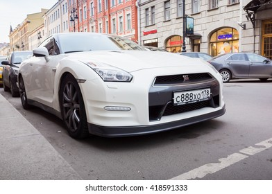 Saint Petersburg, Russia   April 13, 2016: White Nissan GT R