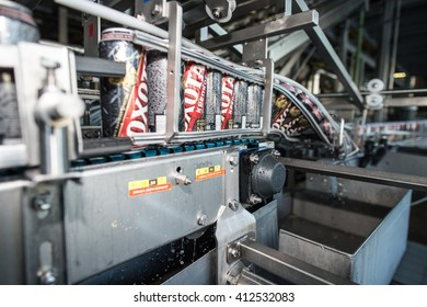 Saint-Petersburg, Russia - April 18, 2016: Jar strong beer Hunting (OHOTA) on the assembly line. The production line of the brewery.