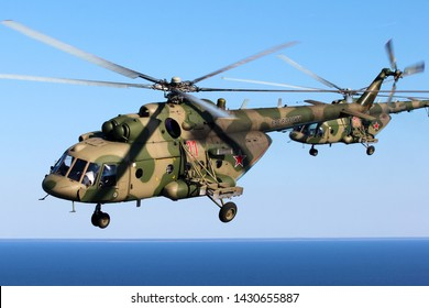 SAINT-PETERSBURG, RUSSIA, APRIL 30, 2019: Russia air force multirole helicopter Mil Mi-8 in flight.