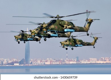 SAINT-PETERSBURG, RUSSIA, APRIL 30, 2019: Russia air force attack helicopters Mil Mi-28N in flight.