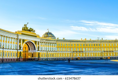 SAINT-PETERSBURG, RUSSIA - Arch of General Staff on Palace Square in Saint Petersburg, Russia travel cities architecture landscape