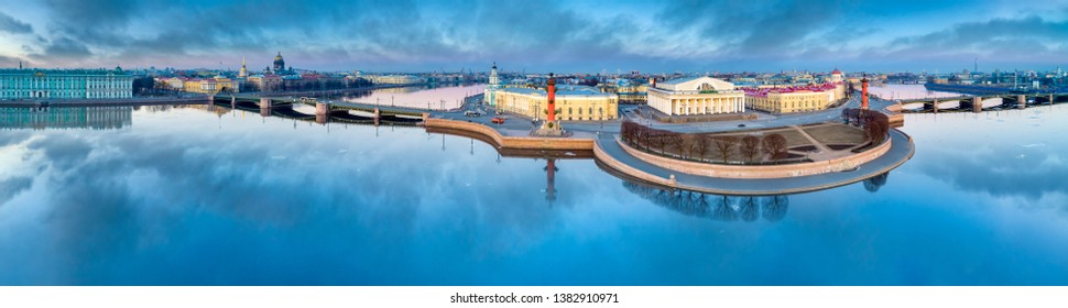 Saint-Petersburg. Russia. Arrow of Vasilevsky view. Embankment of Vasilievsky island in summer. The River Neva. The Palace bridge of St. Petersburg. Cities of Russia. Travel to St. Petersburg.
