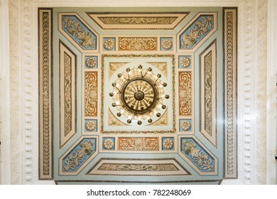 """SAINT-PETERSBURG, RUSSIA - AUGUST 09, 2017: Saint Michael's Castle (Engineers' Castle). The ceiling of the hall """"Faces of Russia"""", """"Nobility"""" close up view"""