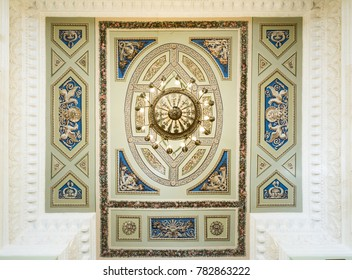 """SAINT-PETERSBURG, RUSSIA - AUGUST 09, 2017: Saint Michael's Castle (Engineers' Castle). The ceiling of the hall """"Faces of Russia"""", """"Merchant class, Common people, Clergymen"""" close up view"""
