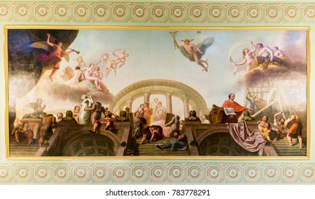 SAINT-PETERSBURG, RUSSIA - AUGUST 09, 2017: Saint Michael's Castle (Engineers' Castle). Painting on the ceiling of Raphael's gallery close up view