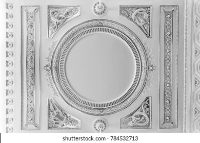 SAINT-PETERSBURG, RUSSIA - AUGUST 09, 2017: Saint Michael's Castle (Engineers' Castle). The ceiling of the ceremonial bedchamber of the Empress Maria Feodorovna close up view