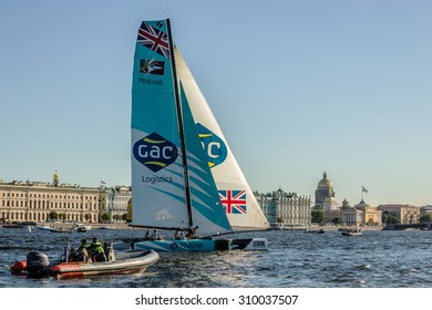 SAINT-PETERSBURG, RUSSIA - AUGUST 23, 2015: GAC Pindar (UK) yacht at Extreme Sailing Series Act 6 catamarans race on 20th-23th August 2015 in St. Petersburg, Russia