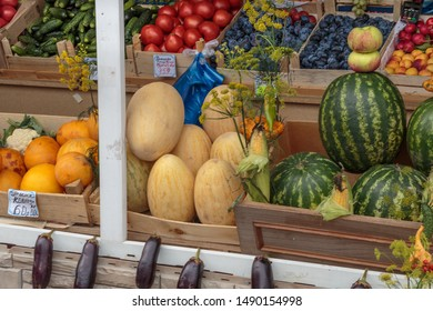 SAINT-PETERSBURG, RUSSIA, August, 26, 2019. Fruits, vegetables, spices, roots at the local farmers market. Farmers markets become a traditional way of selling agricultural products.
