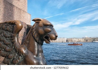 SAINT-PETERSBURG, RUSSIA – AUGUST 27, 2018: Bronze Griffin on The Universitetskaya Embankment near The Neva River