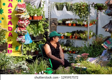 """SAINT-PETERSBURG, RUSSIA - AUGUST 28, 2011 - Agricultural Fair """"Agrorus-2011"""" in St. Petersburg. Woman sells seedlings and seeds"""