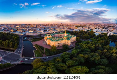 SAINT-PETERSBURG Russia: beautiful Top view of St. Petersburg from the air an Mikhailovsky castle (engineerin) and summer garden on a Sunny summer day.