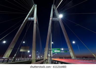 Saint-Petersburg. Russia. Cable-braced bridge at night