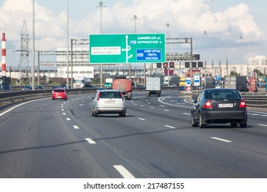SAINT-PETERSBURG, RUSSIA - CIRCA AUGUST, 2014: Transport traffic on city beltway at summer season. The Ring Road is the main highway around the city