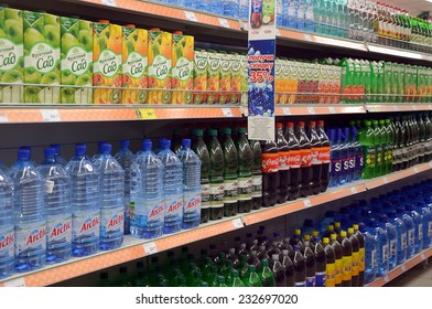 SAINT-PETERSBURG, RUSSIA, DEC 18, 2013 - Department of soft drinks in supermarket in St.  Petersburg, Russia
