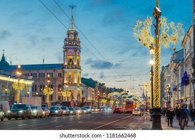 SAINT-PETERSBURG, RUSSIA - DECEMBER 14, 2017: The building of the City Duma with a tower on Nevsky Prospect with Christmas decorations and illumination