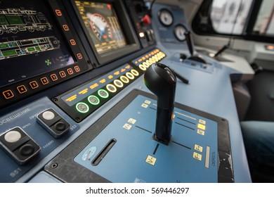 Saint-Petersburg, Russia - December 21, 2016: The dashboard's cabin modern high-speed electric locomotive EP-20