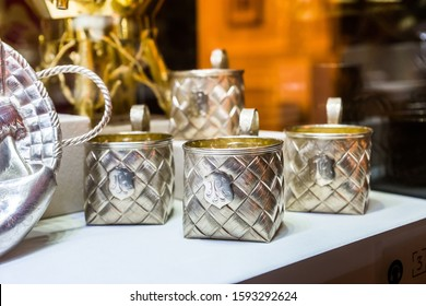 SAINT-PETERSBURG, RUSSIA - DECEMBER 3, 2018: Silver cups in neo-russian style, a part of antique tea set. Exgibition of the Faberge Museum in Shuvalov Palace.